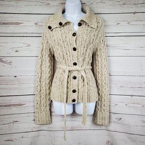 J. CREW Wool & Cashmere Handknit Cream Cardigan M